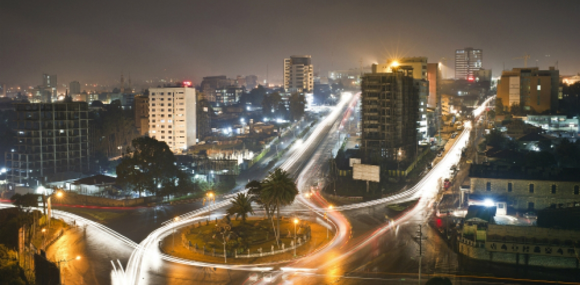 A view of streets and high rise apartment buildings in Addis Ababa, Ethiopia. Panos/Sven Torfinn