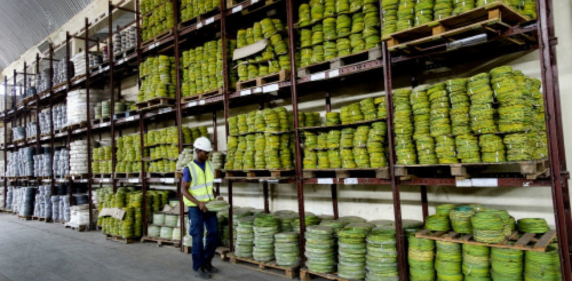 Cables and wires in storage at Reroy Cables. The Ghanaian company augmented its capital with a bank loan secured with the help of the International Finance Corporation, an affiliate of the World Bank. Panos/Nyani Quarmyne