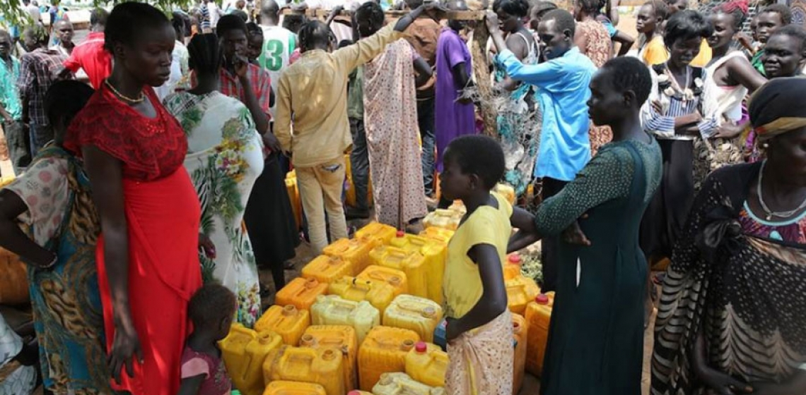 On 14 July 2016, UNICEF using eight tankers, delivered 100,000 litres of water to IDPs in Juba, South Sudan. Photo: UNICEF South Sudan