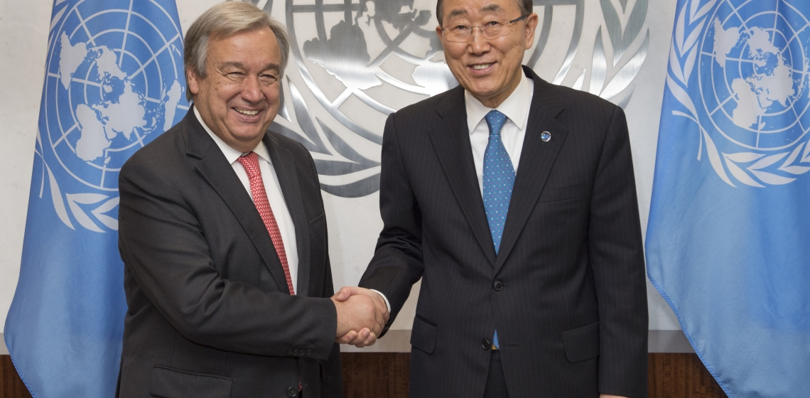 Secretary-General Ban Ki-moon (right) meets with António Guterres, Secretary-General-designate. UN Photo/Eskinder Debebe