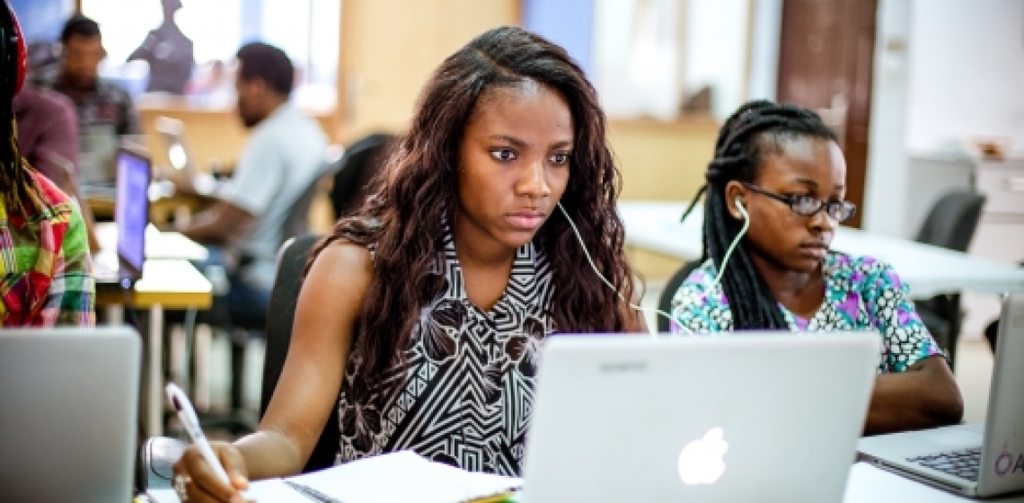 Techies in Lagos, Nigeria, work on an open-source project. Photo: Andela/ Mohini Ufeli