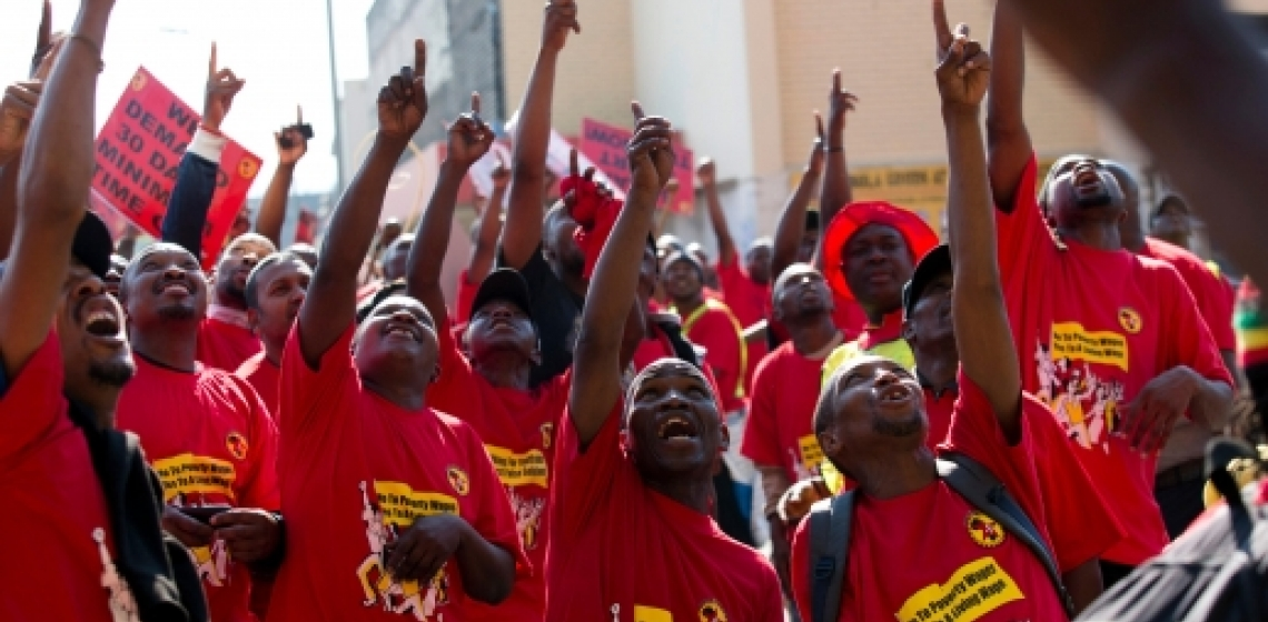 Workers in Durban, South Africa, protesting over youth unemployment.   Reuters/Rogan Ward