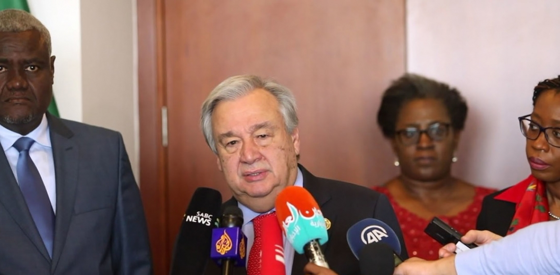 UN Secretary-General speaks to the media in Addis Ababa, Ethiopia, following a meeting with the Chairperson of the African Union Commission. 9 February, 2019.