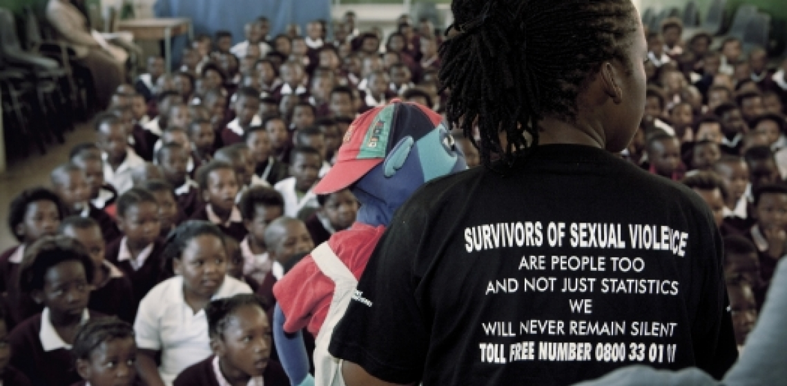 School children in Cape Town, South Africa, attend a theatre show that educates them about rape. Photo: Panos/George Philipas