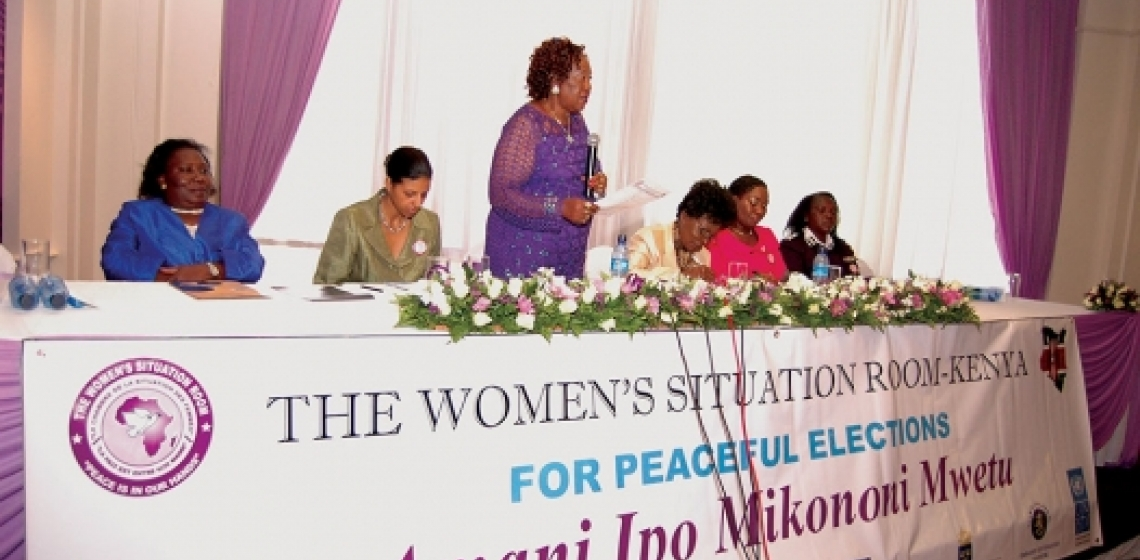 Women Leaders And Representatives Of Kenyau0027s Electoral Body, The Police And  The UN Sit At