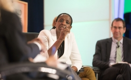 Agnes Kalibata, (Centre) speaking at a panel debate: Feed the Future: