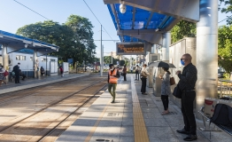Morning commuters at the train station in Beau Bassin, Mauritius.