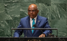 UN General Assembly President Abdulla Shahid addresses the general debate of the UN General Assembly
