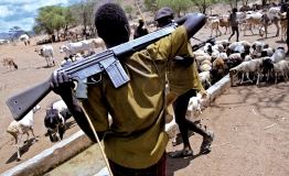 Armed Turkana herdsmen guard their livestock at a watering hole at Oropoyi, in Kenya's north western district of Turkana. Armed raids and cattle rustling over water and pasture sites are common among communities in parts of Uganda, Kenya, Sudan and Ethiop