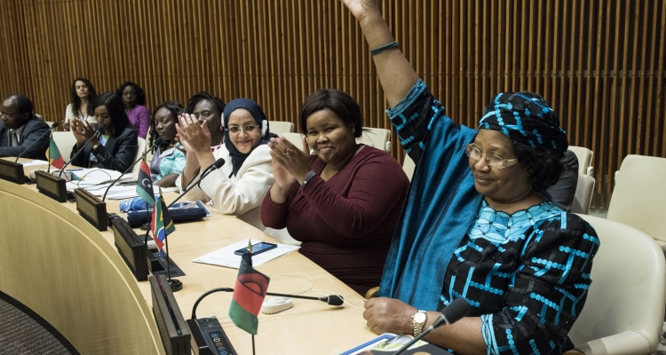Joyce Banda, Former President, Malawi (first from right) at the launched of the African Women Leaders Network at the United Nations Headquarters in New York from 31 May to 2 June 2017.