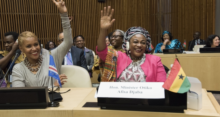 Otiko Afisa-Djaba (right), Minister for Gender and Social Protection of Ghana, at the launched of the African Women Leaders Network at the United Nations Headquarters in New York from 31 May to 2 June 2017.