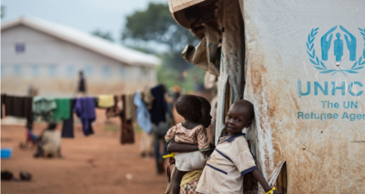 A young refugee from South Sudan at the Numanzi Transit Centre in Adjumani, Northern Uganda.