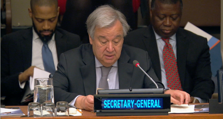 UN Secretary-General Antonio Guterres during the opening of this year's Africa Dialogue Series (ADS) on 21 May at the UN headquarters in New York.