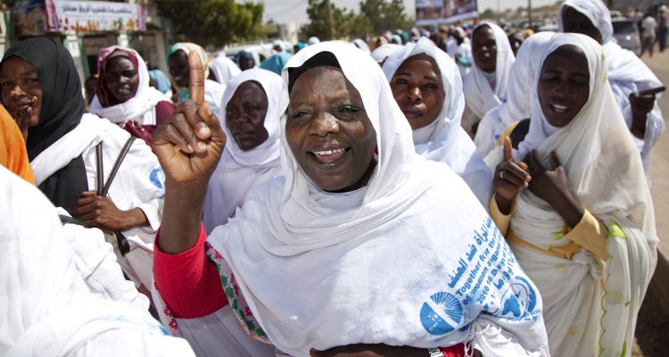 "Women in El Fasher, North Darfur, march for ""16 Days of Activism against Gender-Based Violence"", an annual campaign beginning on the International Day to End Violence Against Women"