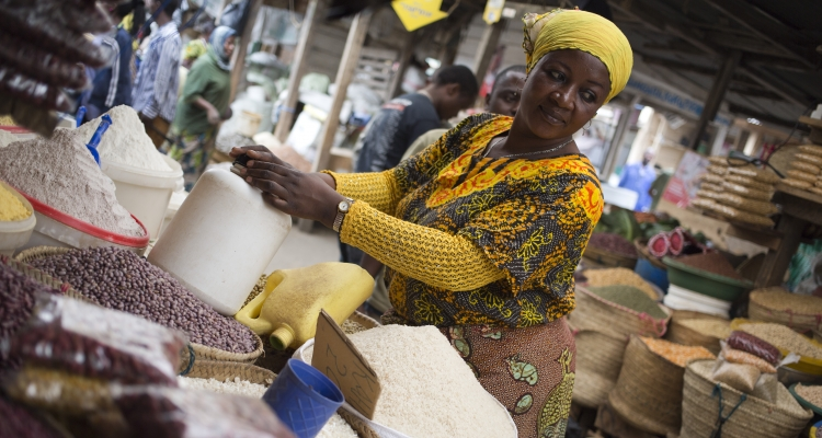 Faiza Juma at her stall in the Arusha market where she has been selling various seeds and maize for 25 years, on Friday 29 July 2016 in Arusha,