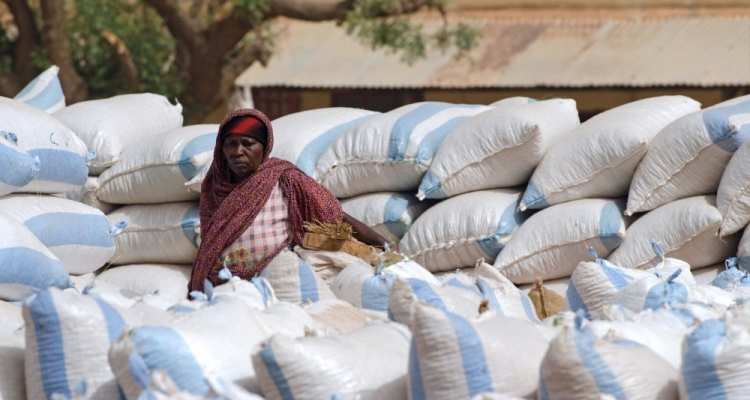 A female trader in North Kordofan, Sudan repack Gum Arabic lots.