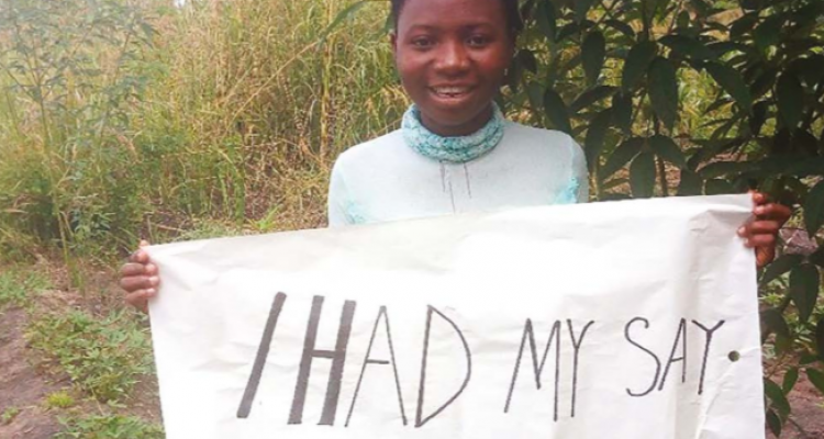 A young girl completed a UN survey about her hopes and futures for the future.