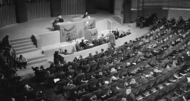 The San Francisco Conference, 25 April - 26 June 1945 Field Marshall Jan Christian Smuts, Prime Minister, Chairman of the delegation from the Union of South Africa, addresses the Conference at the Sixth Plenary Session, 1 May 1945.