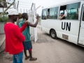 Liberians wave goodbye to departing Ukrainian peacekeepers. Photo: UN Photo/Gonzalez Farran