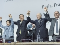 Secretary-General Ban Ki-moon (second left) Christiana Figueres (left), the then Executive Secretary of the UN Framework Convention on Climate Change Laurent Fabius (second right), Foreign Minister of France and President of the UN Climate Change Conferen