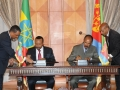 President Isaias Afwerki and Prime Minister Abiy Ahmed sign the Joint Declaration of Peace and Friendship between Eritrea and Ethiopia on 9 July 2018. Photo: Yemane Gebremeskel