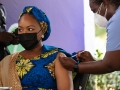 Second Lady of Ghana receives COVID-19 vaccine.