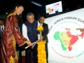 African Union Commissioner for Trade and Industry Fatima Haram Acyl (left) and India Minister of State for External Affairs Vijay Kumar Singh  (center) at the Third India-Africa Forum Summit in October 2015 in New Dehli, India. Photo: India Ministry of St