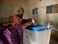 A Malian man casts his ballot at a polling station in Kidal, northern Mali.