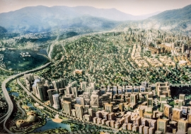 A model of the future Kigali City. An ambitious Kigali development master plan aims to turn the city into the 'Singapore of Africa'. Panos/Sven Torfinn