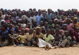 Children and adults in the Minawao camp for Nigerian refugees in the Far North Region of Cameroon.