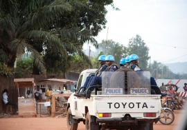 MINUSCA, the UN Multidimensional Integrated Stabilization Mission in the Central African Republic (CAR), on patrol in the capital Bangui. UN Photo/Catianne Tijerina