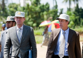OHCHR Director in the Democratic Republic of the Congo (DRC) Scott Campbell (right), and Assistant Secretary-General for Human Rights Ivan Šimonović visit Shabunda, in the DRC's South Kivu province in May 2012. UN Photo/Sylvain Liechti