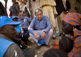 The UN High Commissioner for Refugees listens as Mariam, a Nigerian refugee in Cameroon, describes the attack on her village that forced her to flee.