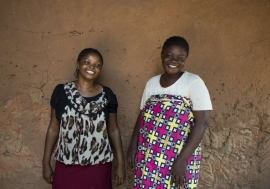 Josephine Servis (Right) fled violence in the Central African Republic and is staying with Blandine Ngeki (Left) in Zongo, Democratic Republic of Congo.
