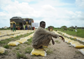 A man rests on a bag of rice distributed by Qatar Charity for iternally displaced people (IDPs) affected by flooding and clan conflict in Jowhar, Somalia. November (2013)UN Photo/Tobin Jones