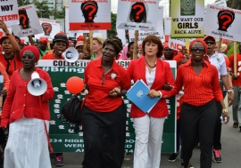 Rally for the Nigerian schoolgirls. UN Photo