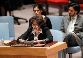 Special Envoy for the Sahel Guebre Sellassie briefs the Security Council for the first time since her appointment on 1 May 2014. UN Photo/Devra Berkowitz