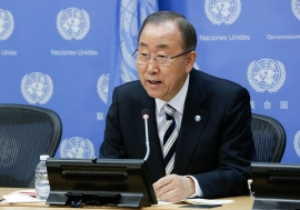 Secretary-General Ban Ki-moon addresses journalists at UN Headquarters. UN Photo/Evan Schneider