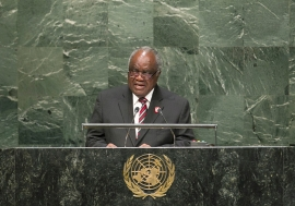 Hifikepunye Pohamba, President of the Republic of Namibia, addresses the general debate of the sixty-ninth session of the General Assembly. UN Photo/Amanda Voisard