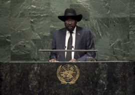 President Salva Kiir of South Sudan addresses the General Assembly. UN Photo/Cia Pak