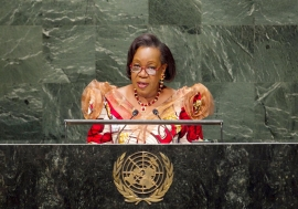 Catherine Samba-Panza, Interim President of the Central African Republic, addresses the General Assembly. UN Photo/Cia Pak