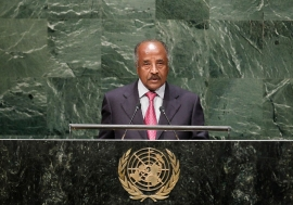 Foreign Minister Osman Mohammed Saleh of Eritrea addresses the General Assembly. UN Photo/Kim Haughton