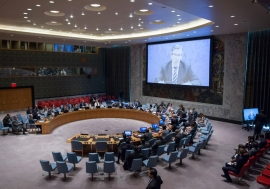 Special Representative and Head of the UN Support Mission in Libya (UNSMIL), Bernardino Léon (shown on screen), briefs the Security Council.