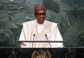 Muhammadu Buhari, President of Nigeria, addresses the general debate of the General Assembly's seventieth session. UN Photo/Amanda Voisard