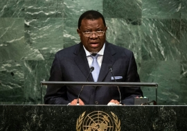 President Hage Geingob of Namibia addresses the general debate of the General Assembly's seventieth session. UN Photo/Cia Pak