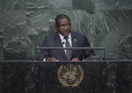 Foreign Minister Samuel Rangba of Central African Republic addresses the general debate of the General Assembly's seventieth session. UN Photo/Amanda Voisard