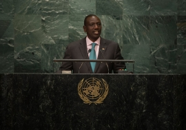 William Ruto, Deputy President of the Republic of Kenya, addresses the General Assembly. UN Photo/Loey Felipe