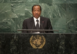 Paul Biya, President of the Republic of Cameroon, addresses the general debate of the General Assembly's seventy-first session. UN Photo/Cia Pak