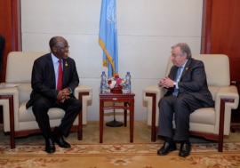 Secretary-General António Guterres meets with John Pombe Joseph Magufuli, President of Tanzania at the 28th summit of the African Union (AU), in Addis Ababa, Ethiopia. UN Photo/Antonio Fiorente