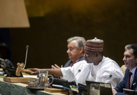 Tijjani Muhammad-Bande (centre), President of the seventy-fourth session of the United Nations General Assembly, opens the general debate of the seventy-fourth session of the General Assembly.